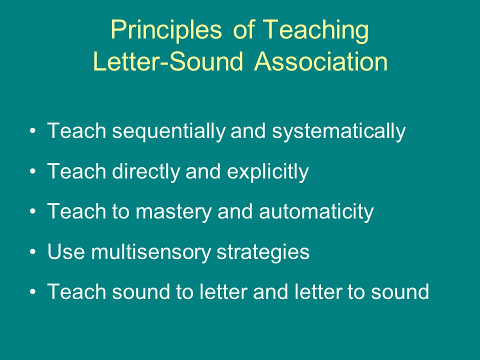 Principles of Teaching Letter-Sound Association