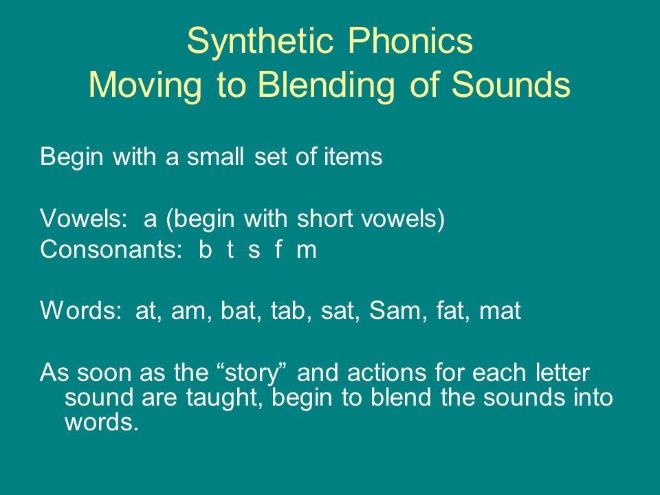 Synthetic Phonics Moving to Blending of Sounds