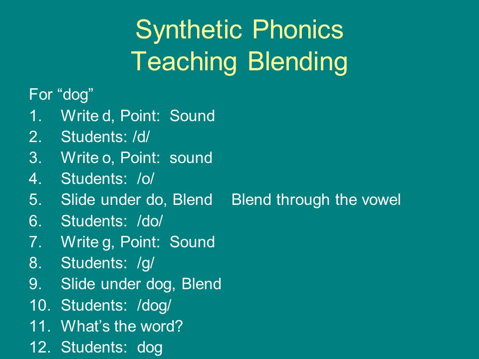Synthetic Phonics Teaching Blending
