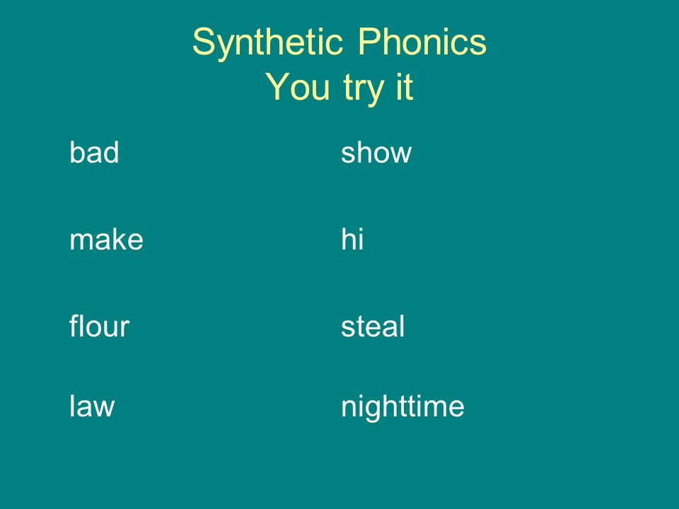 Synthetic Phonics You try it