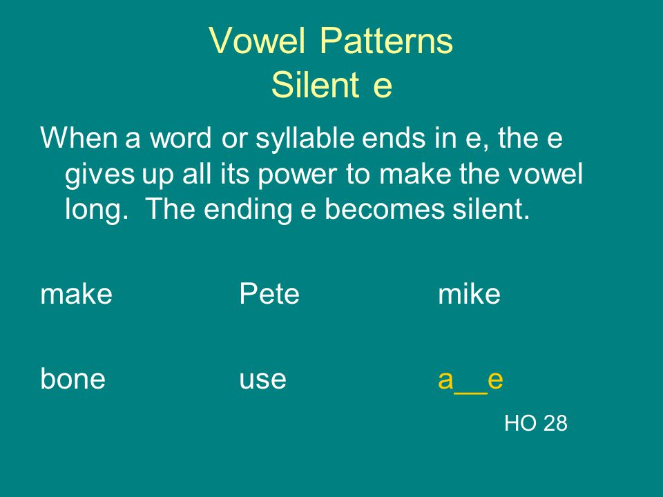 Vowel Patterns Silent e