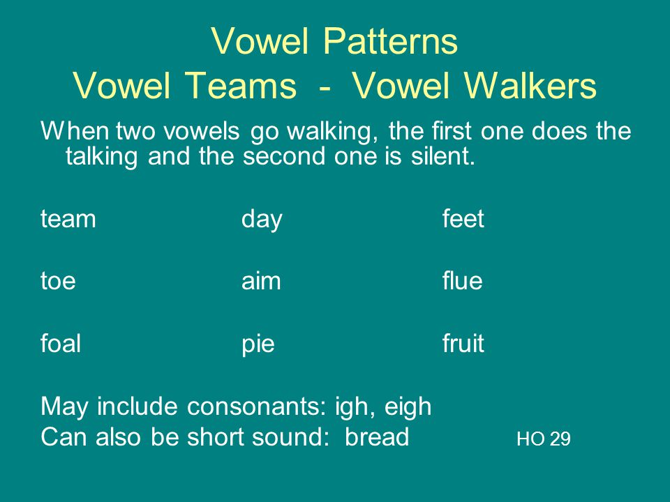 Vowel Patterns Vowel Teams - Vowel Walkers