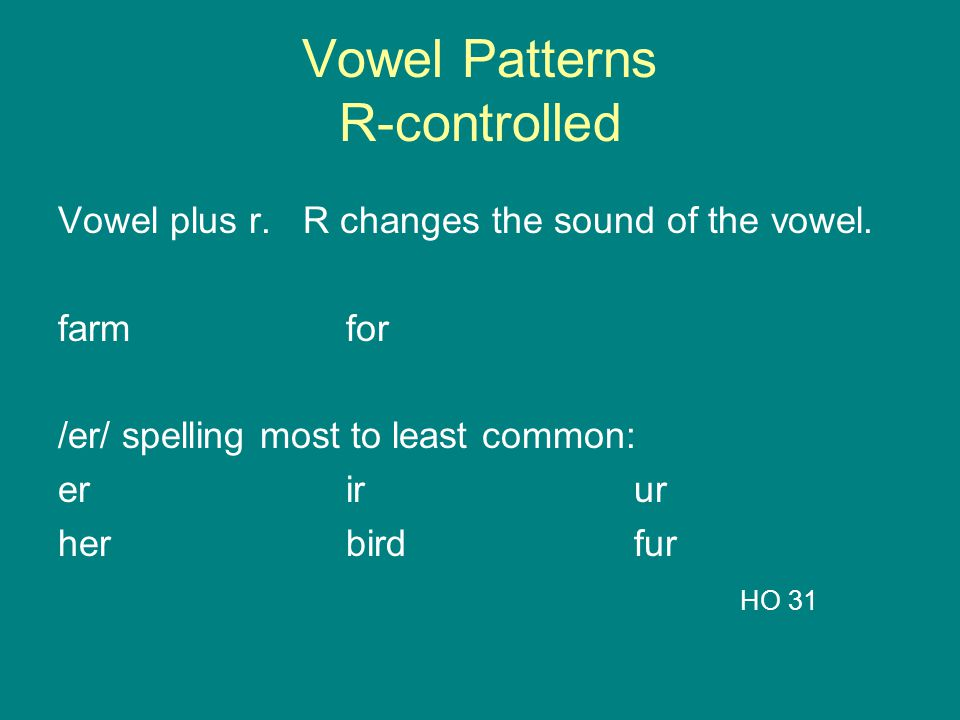 Vowel Patterns R-controlled