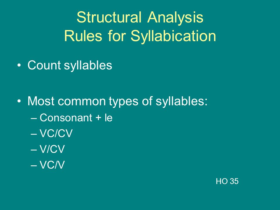 Structural Analysis Rules for Syllabication