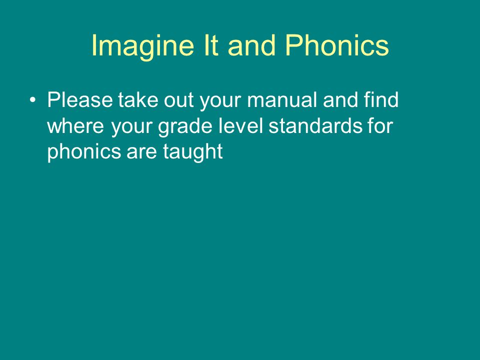 Imagine It and Phonics Please take out your manual and find where your grade level standards for phonics are taught.