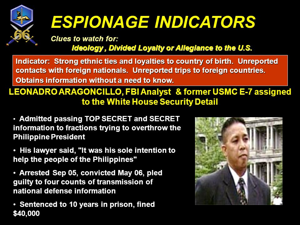 ESPIONAGE INDICATORS Clues to watch for: Ideology , Divided Loyalty or Allegiance to the U.S.