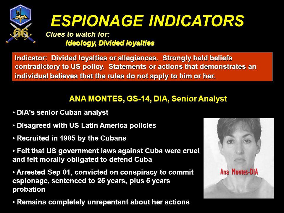 ANA MONTES, GS-14, DIA, Senior Analyst