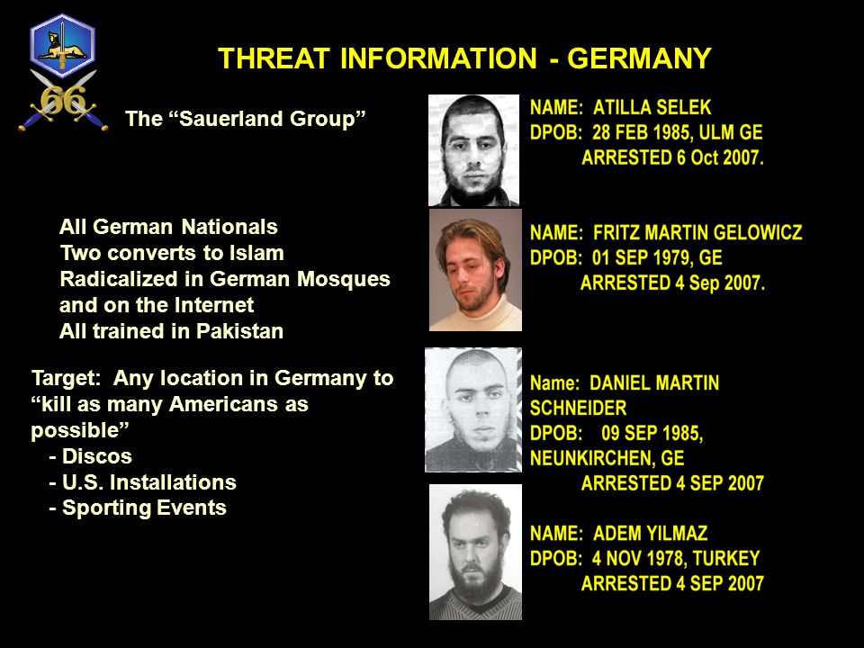THREAT INFORMATION - GERMANY