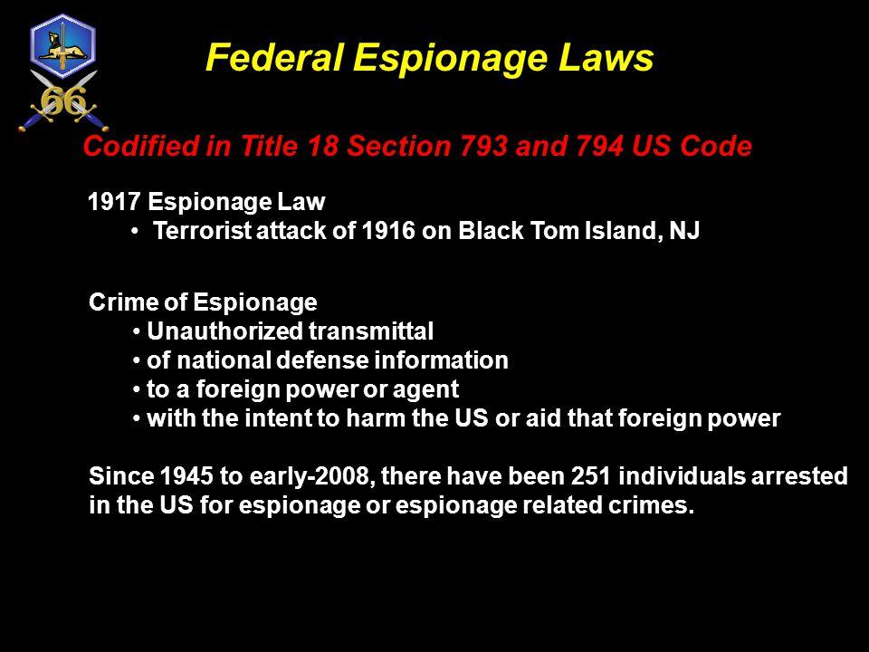 Federal Espionage Laws