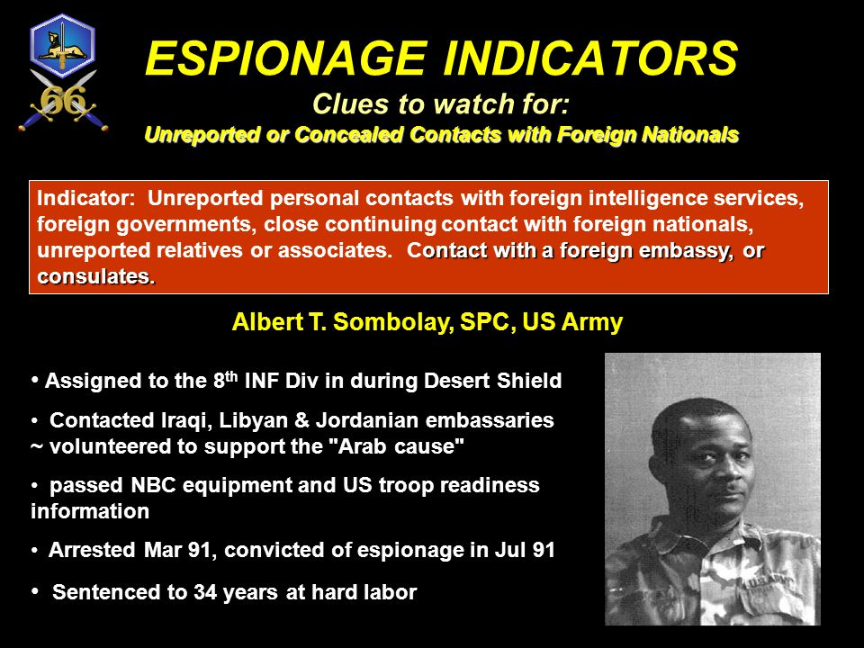 ESPIONAGE INDICATORS Clues to watch for: Unreported or Concealed Contacts with Foreign Nationals