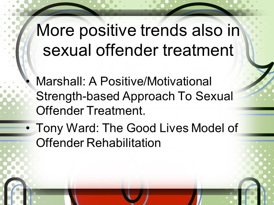 More positive trends also in sexual offender treatment