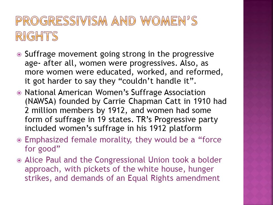 Progressivism and Women's rights