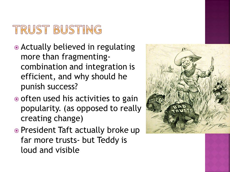 Trust busting Actually believed in regulating more than fragmenting- combination and integration is efficient, and why should he punish success