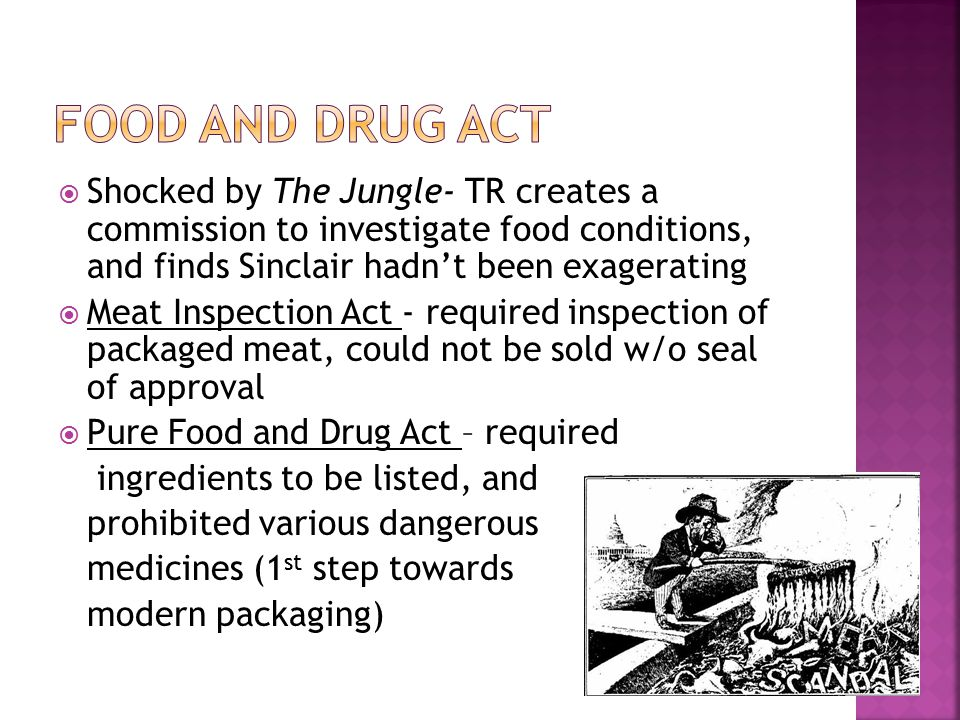 Food and Drug Act Shocked by The Jungle- TR creates a commission to investigate food conditions, and finds Sinclair hadn't been exagerating.