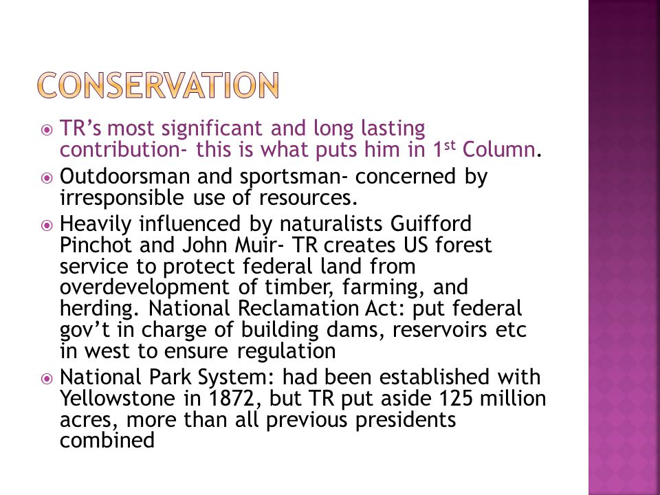 Conservation TR's most significant and long lasting contribution- this is what puts him in 1st Column.