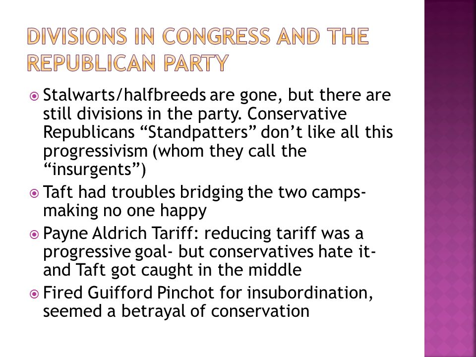 Divisions in Congress and the Republican Party