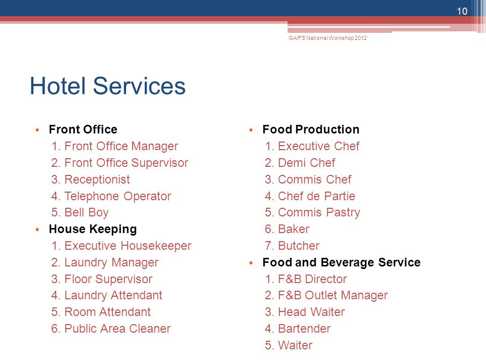 Hotel Services Front Office Food Production Front Office Manager