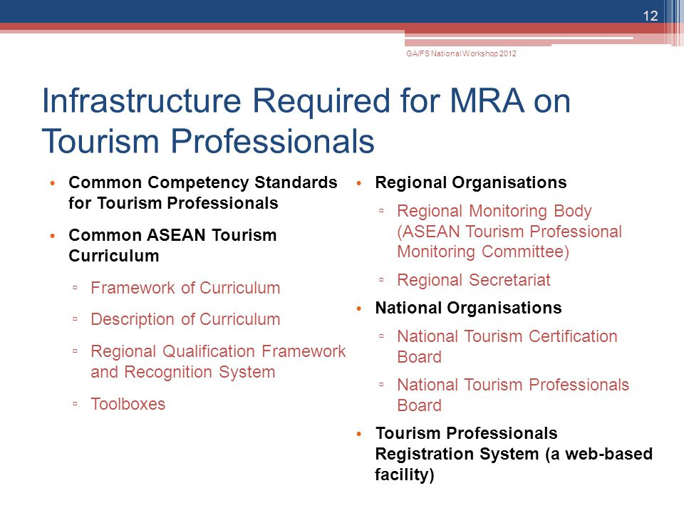 Infrastructure Required for MRA on Tourism Professionals