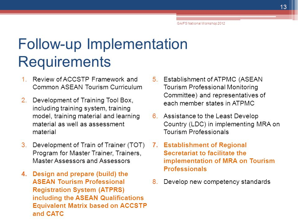 Follow-up Implementation Requirements