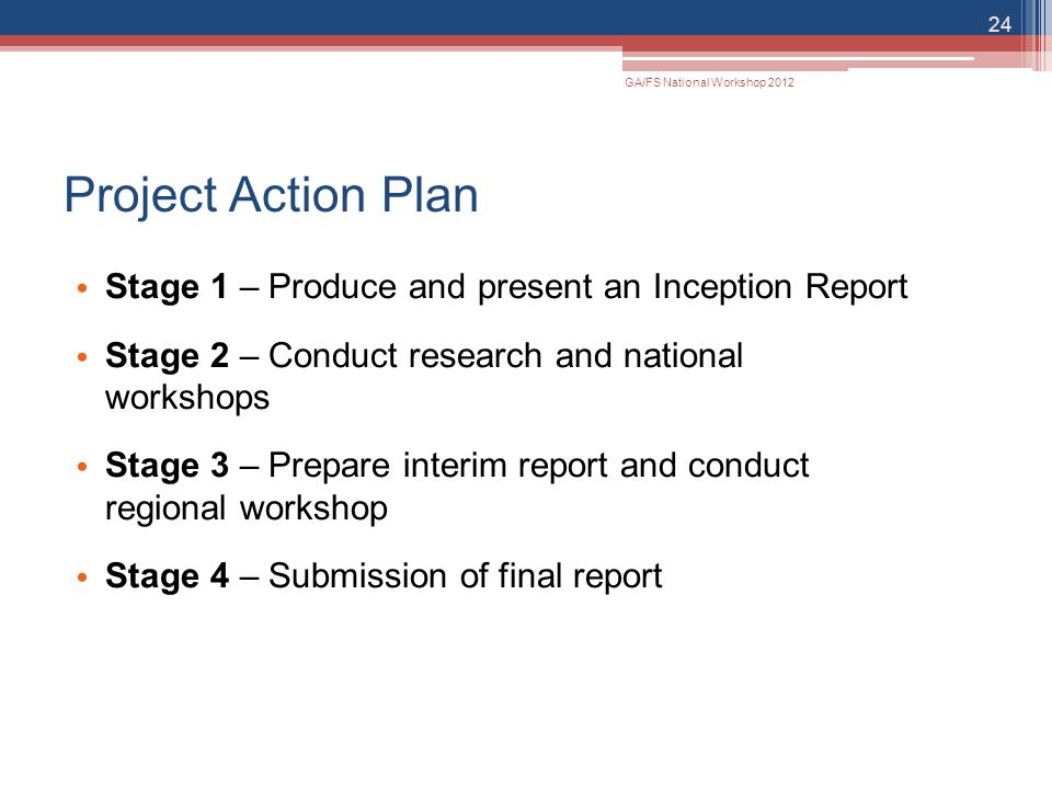 Project Action Plan Stage 1 – Produce and present an Inception Report