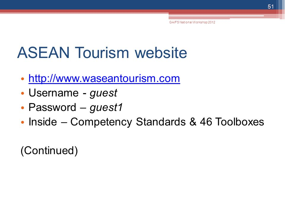 ASEAN Tourism website http://www.waseantourism.com Username - guest
