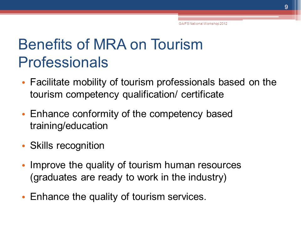 Benefits of MRA on Tourism Professionals