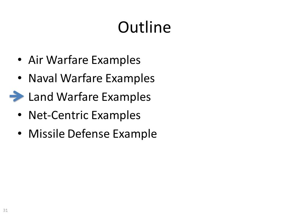 Outline Air Warfare Examples Naval Warfare Examples