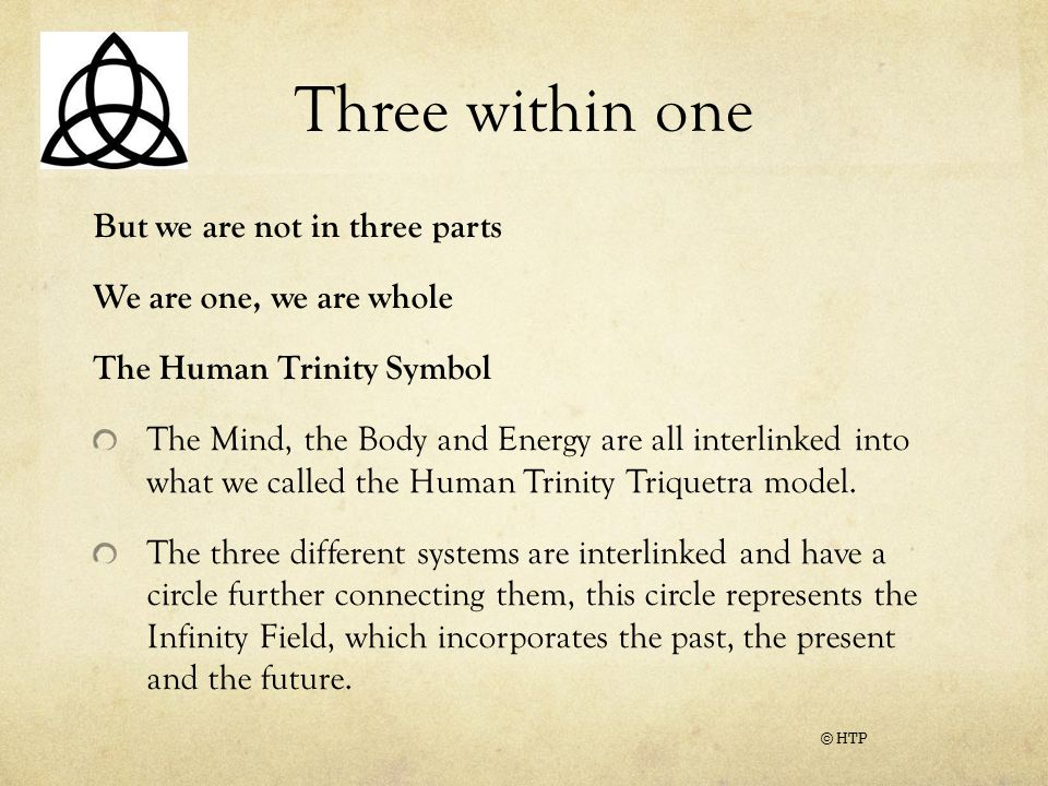 Three within one But we are not in three parts