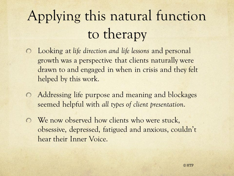 Applying this natural function to therapy