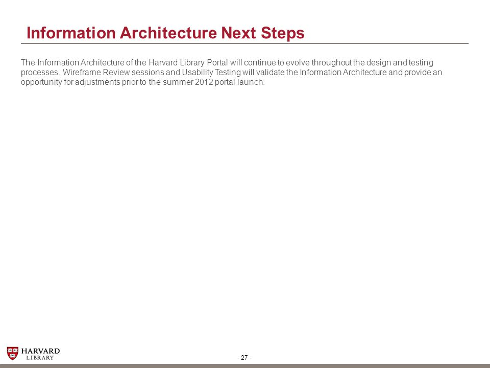 Information Architecture Next Steps