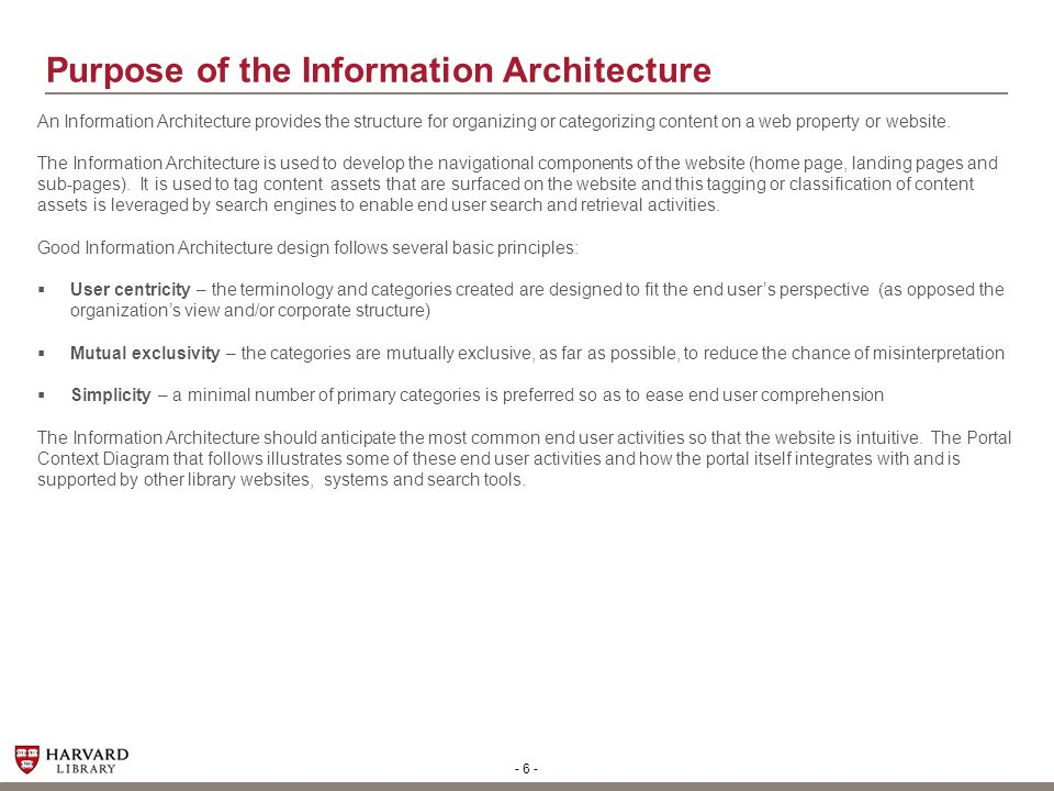 Purpose of the Information Architecture