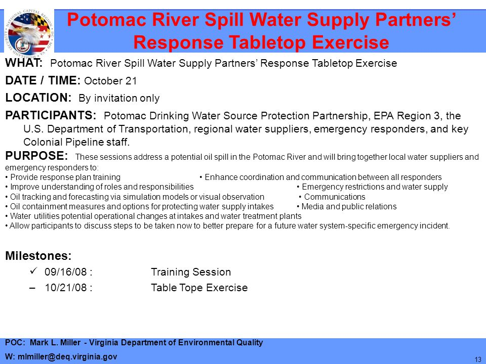 Potomac River Spill Water Supply Partners' Response Tabletop Exercise