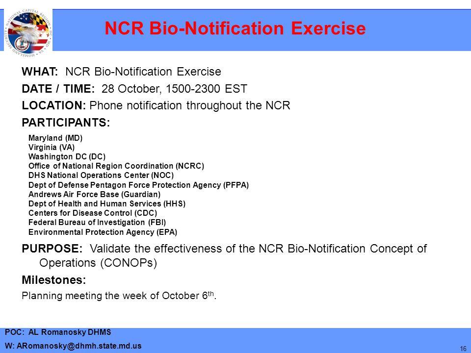 NCR Bio-Notification Exercise