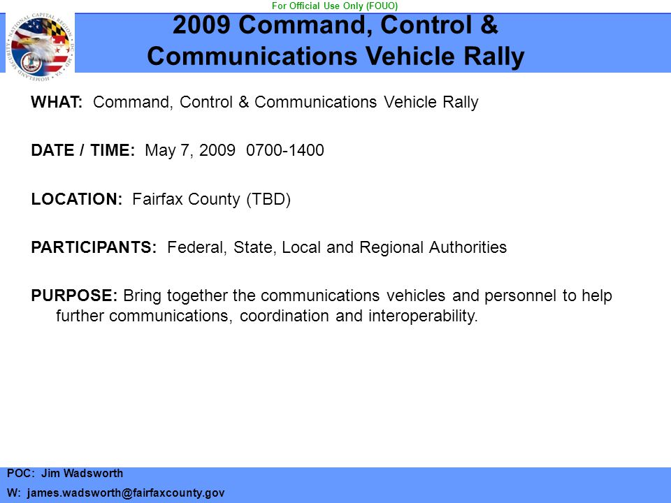 Communications Vehicle Rally For Official Use Only (FOUO)