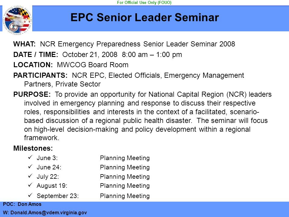 EPC Senior Leader Seminar For Official Use Only (FOUO)