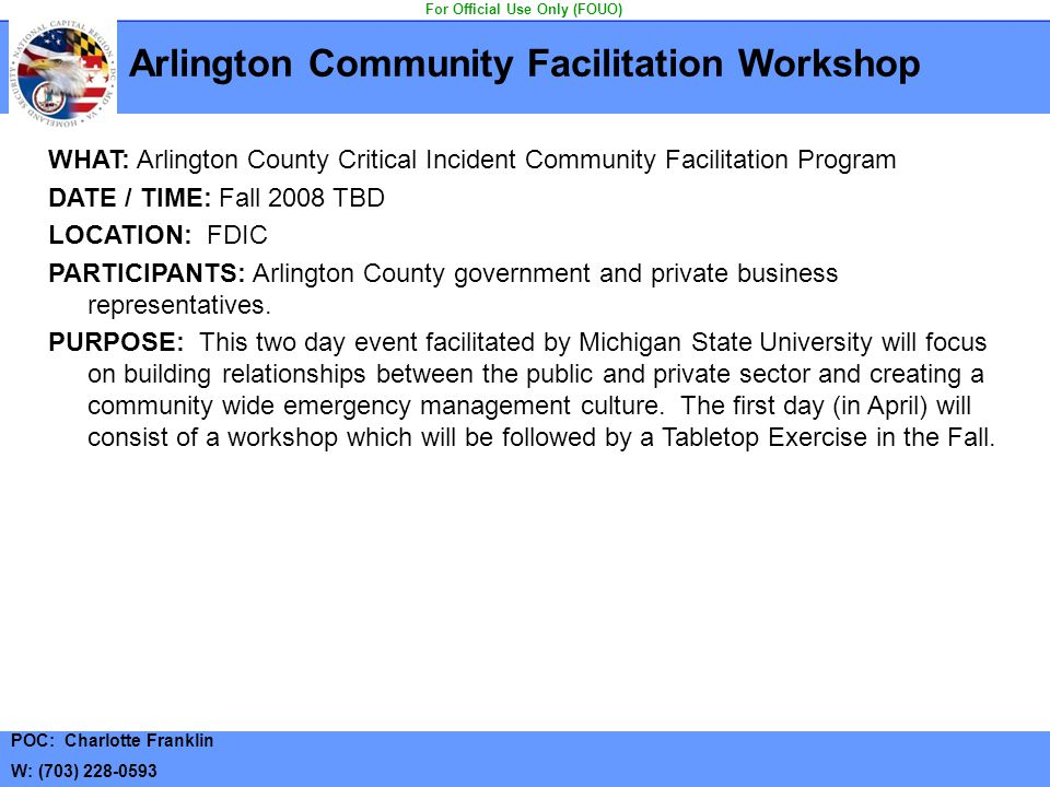 Arlington Community Facilitation Workshop For Official Use Only (FOUO)