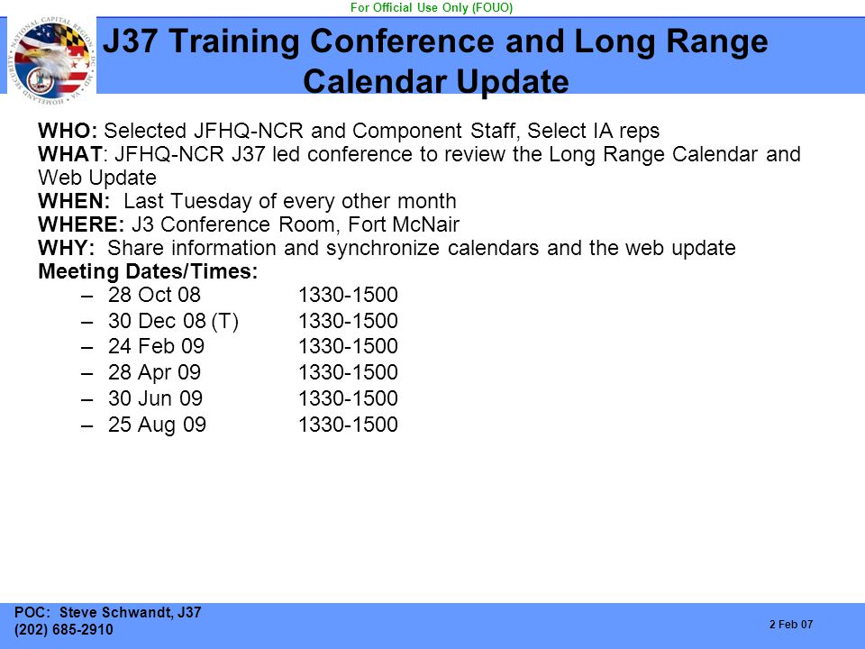 J37 Training Conference and Long Range Calendar Update