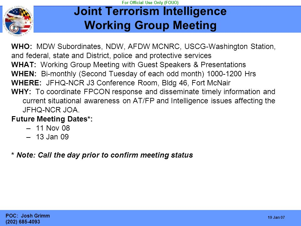 Joint Terrorism Intelligence Working Group Meeting