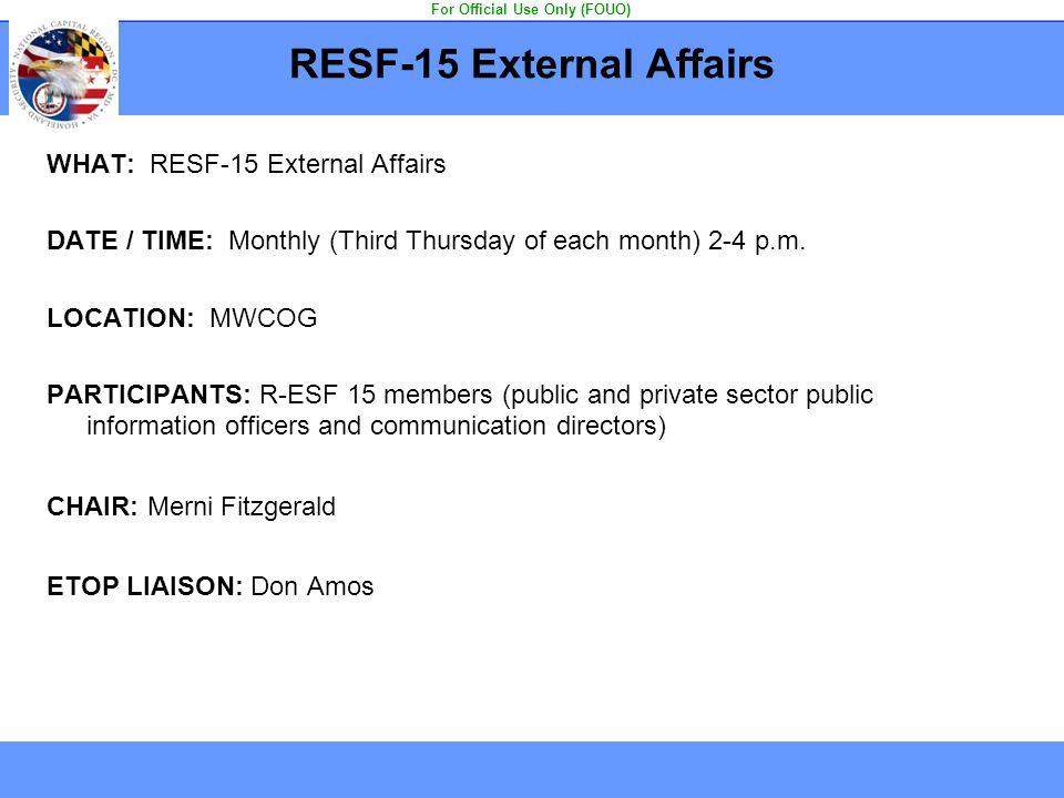 RESF-15 External Affairs