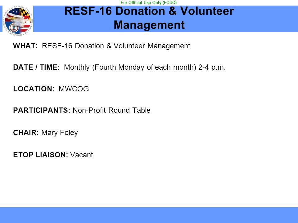 RESF-16 Donation & Volunteer Management