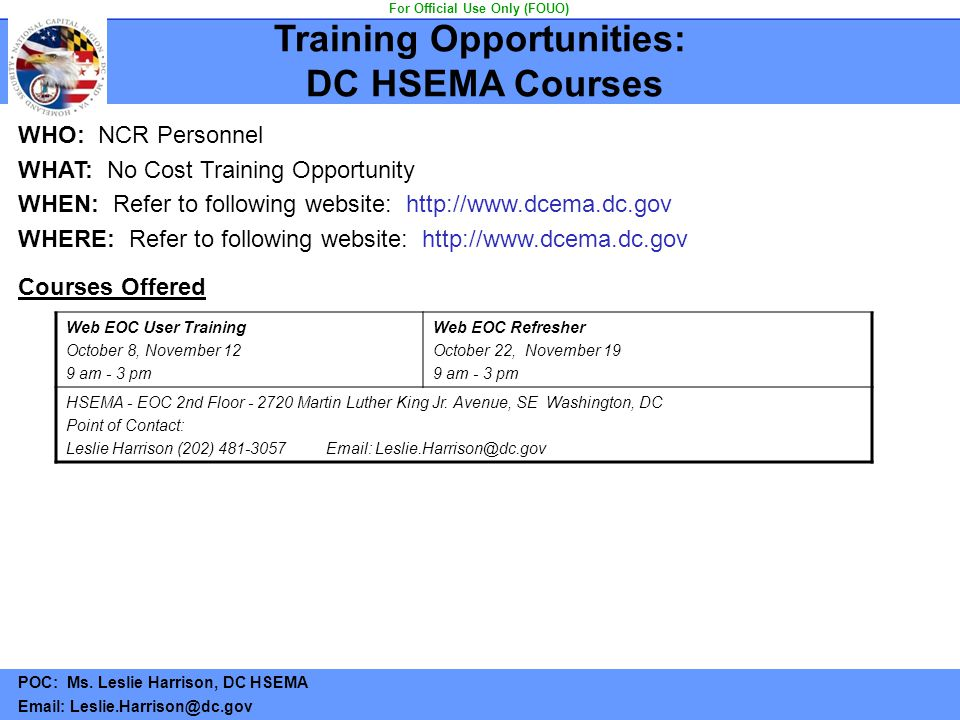 Training Opportunities: DC HSEMA Courses For Official Use Only (FOUO)