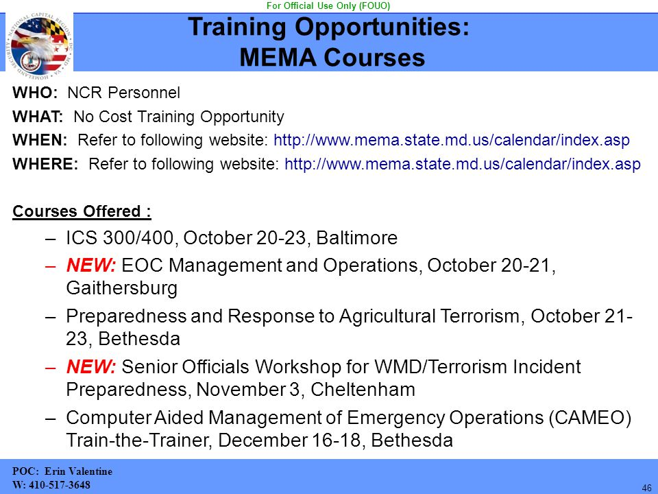 Training Opportunities: MEMA Courses For Official Use Only (FOUO)