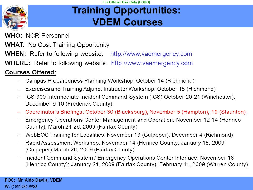 Training Opportunities: VDEM Courses For Official Use Only (FOUO)