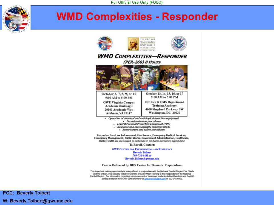 WMD Complexities - Responder For Official Use Only (FOUO)