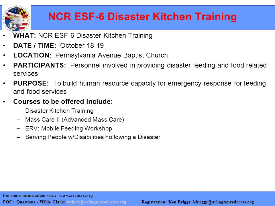 NCR ESF-6 Disaster Kitchen Training