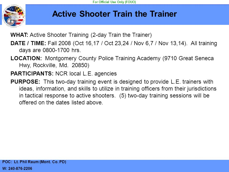 Active Shooter Train the Trainer For Official Use Only (FOUO)