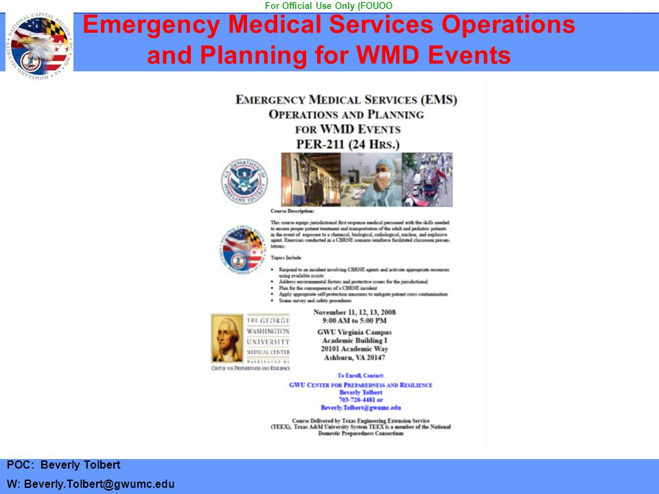 Emergency Medical Services Operations and Planning for WMD Events