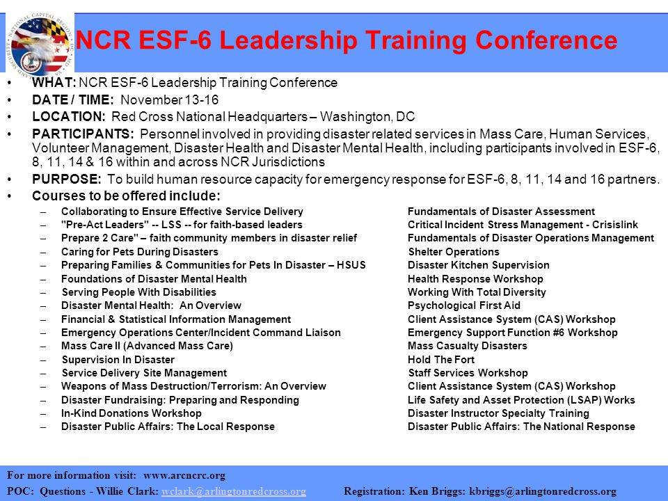 NCR ESF-6 Leadership Training Conference