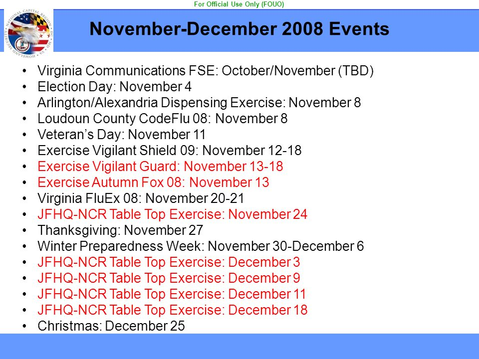 November-December 2008 Events For Official Use Only (FOUO)