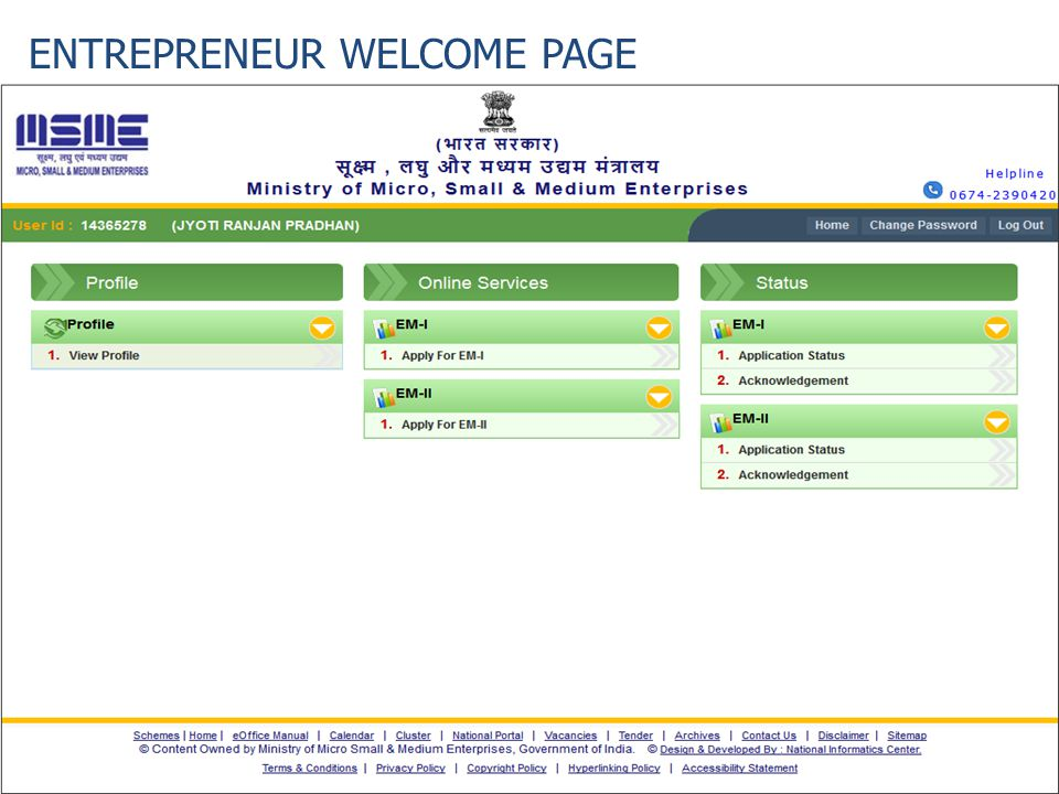 ENTREPRENEUR WELCOME PAGE